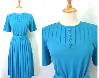 Vintage 80s Dress, Pleated dress Aqua blue Medium