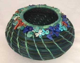 Embellished Green and Blue Pine Needle Basket by Marcie Stone