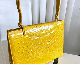 40% OFF Christmas in July Vintage 1960's Cheery Yellow Faux Ostrich Patent Hand Bag -- Retro