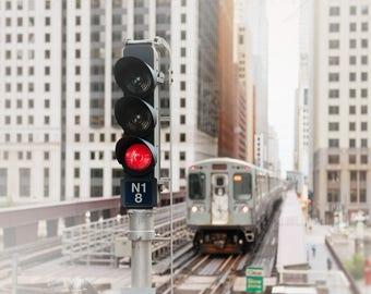 Chicago Train Art, Architecture Photography, Urban Wall Art Print - CTA Loop Train, Brown Line, Pop Red, Pale Gray, White Decor, Boys Room