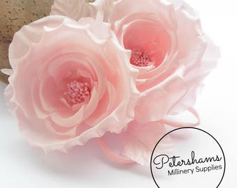 Silk 'Fiona' Double Rose Millinery Fascinator Flower Hat Mount - Light Pink