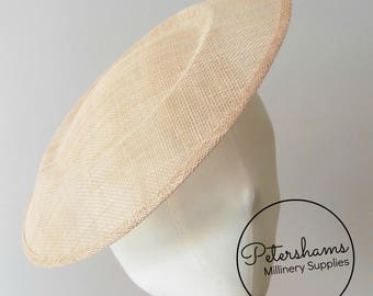 Extra Large 29cm Round Saucer / Plate Sinamay Fascinator Hat Base for Millinery - Latte Brown
