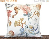 Christmas in July Sale Coastal Pillow Cover Cushion Seashells Seahorse Sea Coral Octopus Crab Beige Blue Red Brown Decorative Repurposed 18x