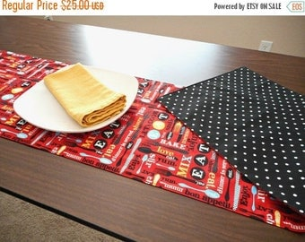 Christmas in July Sale Kitchen Words Table Runner Eat Bon Appetit Forks Spoons Knives Picnic Summer Red Turquoise Yellow Black White Polka D