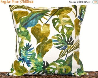 Christmas in July Sale Palm Leaves Pillow Cover Cushion Tommy Bahama Outdoor Indoor Tropical Green Blue Beige Coastal Beach Decorative 18x18