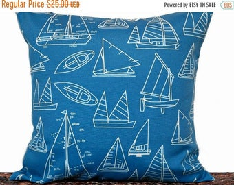 Christmas in July Sale Blue Sailboats Outdoor Pillow Cover Cushion Nautical Periwinkle Beige Beach Man Cave Decorative 18x18