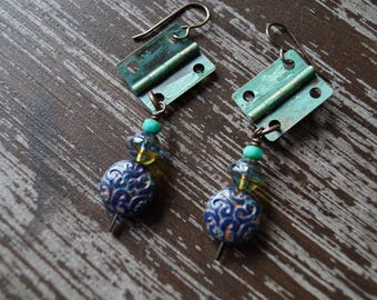 Rustic Earrings - Navy Blue and Turquoise - Steampunk - Boho Jewelry - Dangle Earrings - Bead Soup Jewelry
