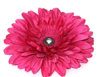 1 Bright Fuchsia Pink Daisy Hair Clips - EMBELLISHED with Vintage Inspired Crystal