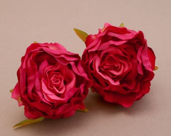 2 Small DARK PINK Ruffle Peonies  - Artificial Flower Heads, Silk Flowers