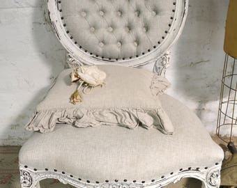 Painted Cottage Chic Shabby French Upholstered Tufted Chair CHR166