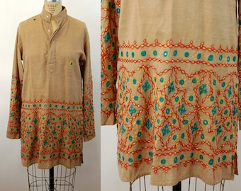 1960s tunic embroidered brown red green cotton Made in India Boho hippie top Size M/L