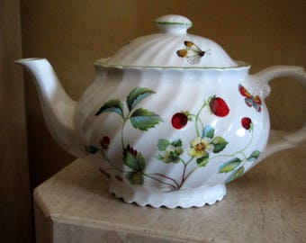 Vintage James Kent Staffordshire Porcelain Old Foley Strawberry and Butterfly Teapot with Lid Green Trim