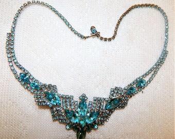 Vintage Aqua  Necklace Prong Set  Rhinestones Rhodium Back 1950s