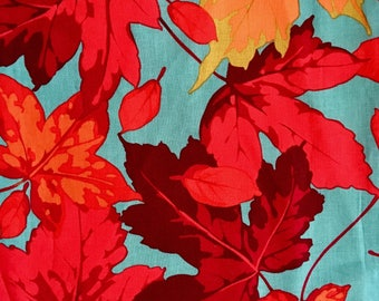 Martha Negley  OOP, rareAutumn Medley, Maples, teal red leaf,  fall fabric, half yard