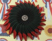 Red Green and Black Cocarde Cockade  Millinery Hat Decoration