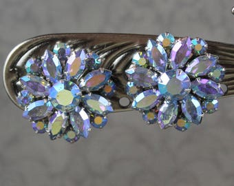 Vintage Coro Blue Aurora Borealis Finished Round Flower Silver Tone Clip On Earrings