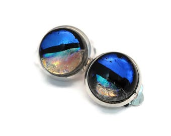 Dichroic Non-Pierced Clip On Earrings, Clip on Earrings,Fused Glass Earrings,Blue Iridescent Earrings,Blue