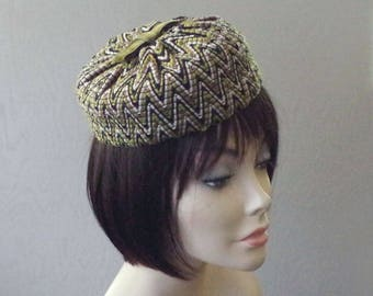 Vintage PillBox Hat - Ladies Chevron Green Black Chapeau - Union Made Velvet Cotton Pill Box Hat