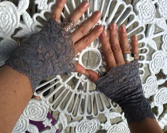 Cuffs - Burning Man - Lace Cuffs - Fingerless Gloves - Gypsy Boho - Clothing Accessory - Tribal - Grey Lace - Sexy Gloves - One Size