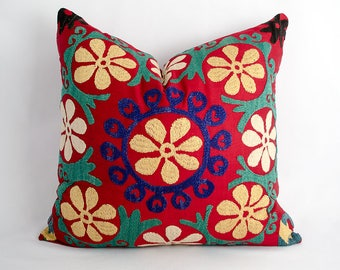 16x16 inches square suzani pillow cover, fully handmade silk embroidery from vintage suzani from Uzbekistan