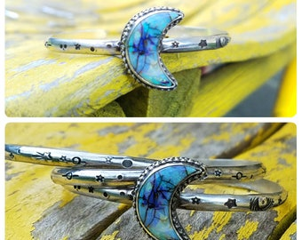 Sterling Silver --Universe Cuff Bracelet-- Cultured Opal Crescent Moon Stacking Space Cuff