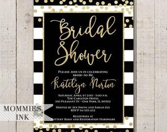 Black and White Stripe Bridal Shower Invitation, Confetti Invite Black & White Stripes, Black and Gold Invitation, Gold Glitter Invitation