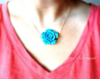 Rose Necklace, Turquoise Green, Flower Necklace, Summer Necklace, Thank you gift, Gift for her, birthday gift, Summer wedding
