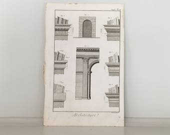1751 ARCH architecture original antique french building engraving - arch details - DIDEROT architecture print