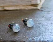 Selene. Moonstone Earrings, Moonstone post stud earring, Moonstone jewelry, Blue Flash  Rainbow Moonstone