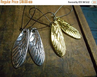 SALE Cicada Song. Cicada Wing earrings in gold or silver.