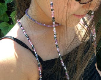 Purple & Pink Beaded Eyeglass Holder