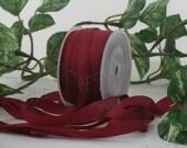 Burgundy Silk Ribbon, Dark Red Silk Ribbon, Silk Ribbon, Pantone Marsala