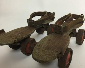 Metal Roller Skates Antique Skater Derby Gift
