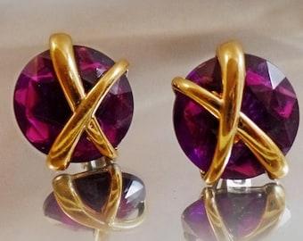 SALE Vintage Purple Rhinestone Earrings.  Gold X Purple Button Earrings.