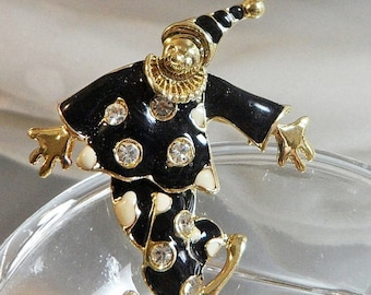 SALE Vintage Articulated Clown Brooch. Black White Enamel Jester Pin. Clear Rhinestone Harlequin Pin.
