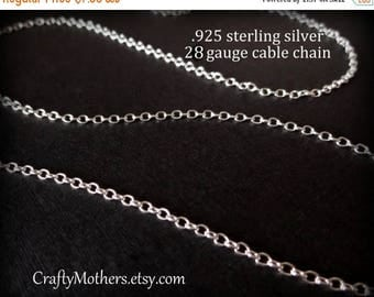 8% off SHOP-WIDE, Sterling Silver Bulk Fine CABLE Chain, 18 Inches, 28 gauge (links measure 2mm x 1.5mm), ready to finish necklace