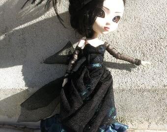 pullip doll bjd black blue Victorian lace