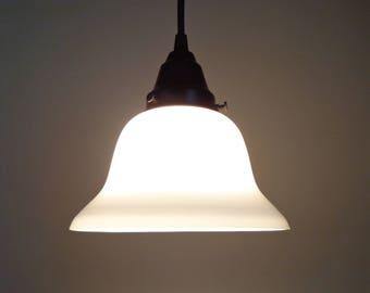 Vintage Milk Glass PENDANT Light Bell Shape - Quality Lighting Fixture Kitchen Island Farmhouse Ceiling Flush Mount Chandelier Farmhouse