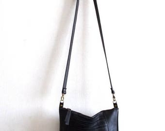 OnSALE Black leather bag, Every day purse , Cross-body bag