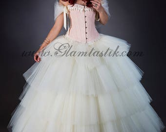 Clearance Size Medium Peach and ivory lace tiered burlesque corset prom dress full length ball gown with hoop skirt and bolero Ready to Ship
