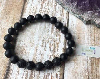 Matte Black Essential Oil Diffuser Bracelet