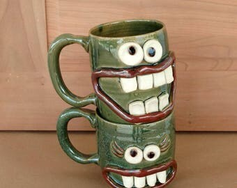 His Hers Coffee Cups. Mother's/Father's Day Gift. Frosty Green. Pair of Smiley Face Happy Beer Mugs. Mr Mrs Matching Mugs. Big 14-16 Ounces.