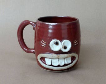 Wacky Face Mug. Cinnamon Red. Unique Handmade Stoneware Pottery Gift for Her. Microwave and Diswhasher Safe Stoneware Pottery Ug Chug Mug