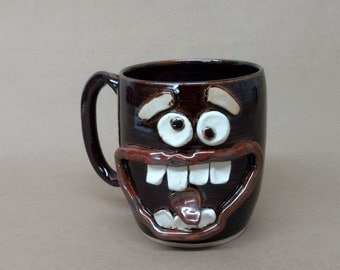 Father's Day Large Black Coffee Cup. Extremely Happy Big Smiley Face Ug Chug Well Over 20 Oz Coffee Cup. Ceramic Beer Mug. Unique Man Gift.