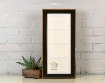 """8x19.5"""" Frame Matted to fit (4) 4x6"""" photos in 2-Tone Style with Vintage Black Finish - IN STOCK - Same Day Shipping - Collage Frame 4 x 6"""