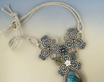 Game of Swirls, soutache necklace OOAK