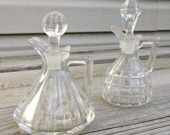 Vintage Heisey Victorian Cruet Set / Crystal Cruiet Set / Glass Stoppers