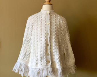 Vintage 1960s Girls Size 7 and 8 Knit Poncho, Cream White Acrylic Fringed, Boho Hippie Outerwear