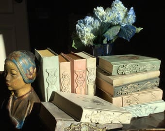 Altered French Country Book Clay Appliques Medallions Chalk Paint Romantic Wedding Decor