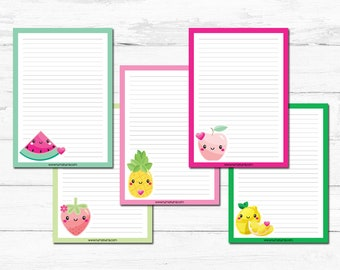 Stationery Set - kawaii fruit - letter writing